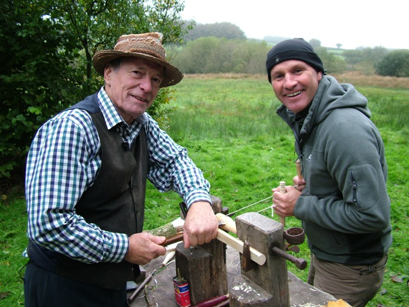 Filming BBC doc, Mystery of the Moor, Stuart King with presenter Mike Dilger image Oct 2013,