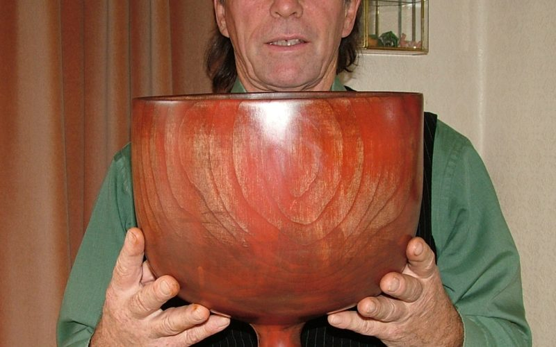 Stuart King with his much used two gallon Wassail bowl