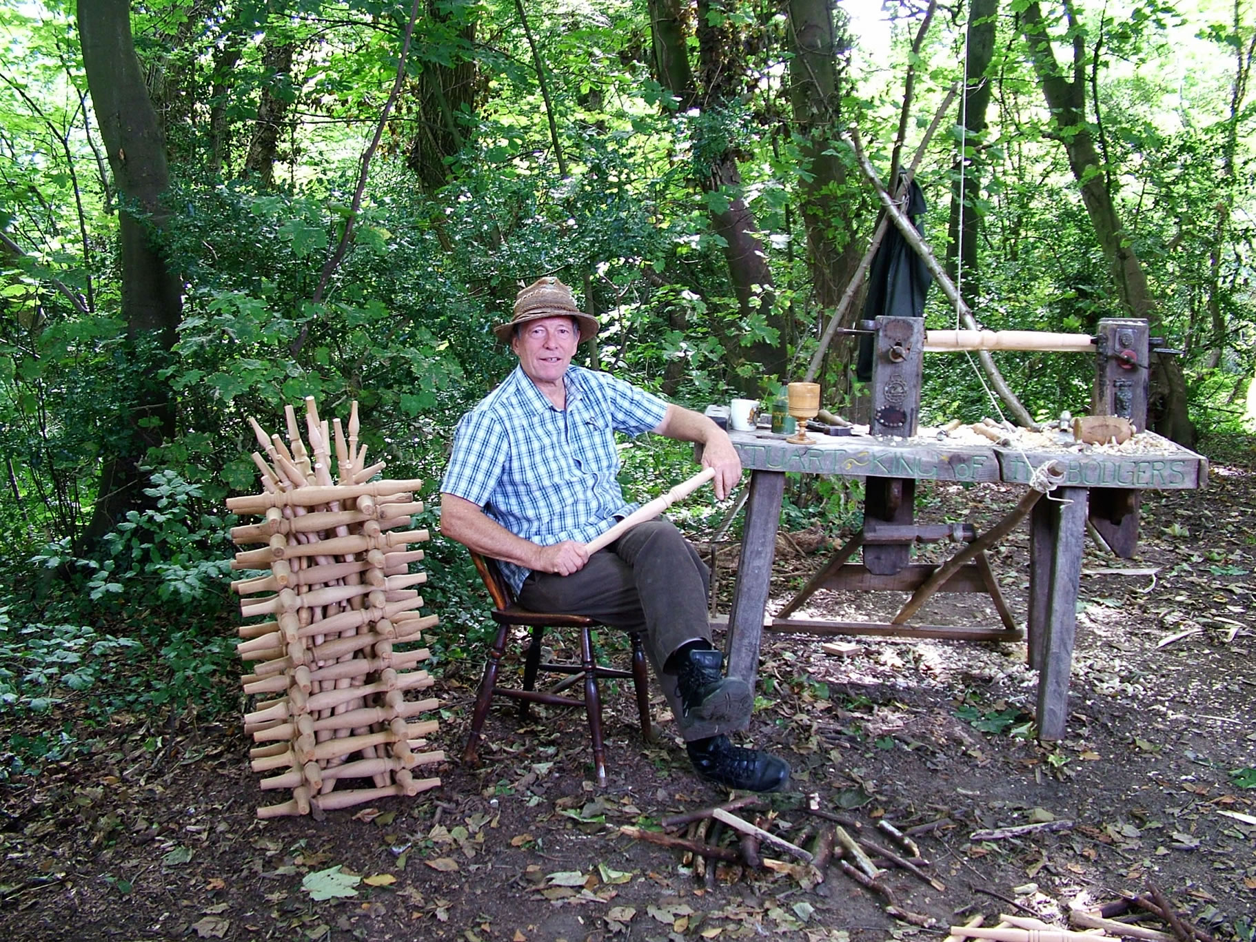 Stuart King with pole lathe Lucas Wood-Sept 2012
