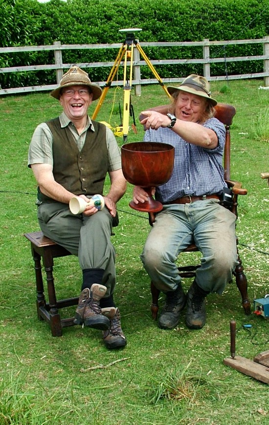 TV-TimeTeam-Stuart King with Phil Harding and that two gallon Wassail bowl-Sutton Courtney -