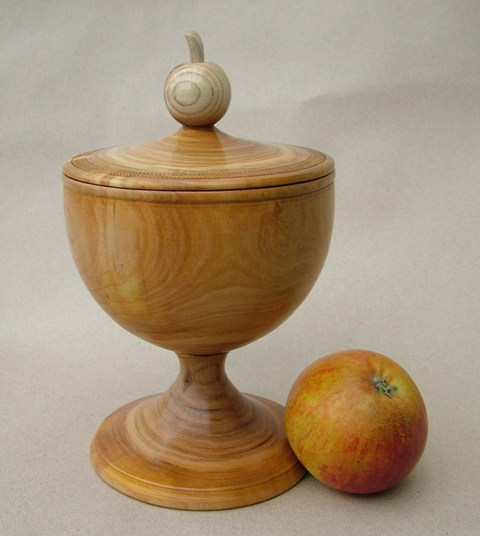 Wassail cup and cover  in cherry wood made for Stones Orchard-Croxley Green-by-Stuart King- image -2012 -