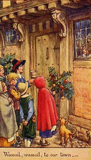 Wassailing at the door at Christmastide