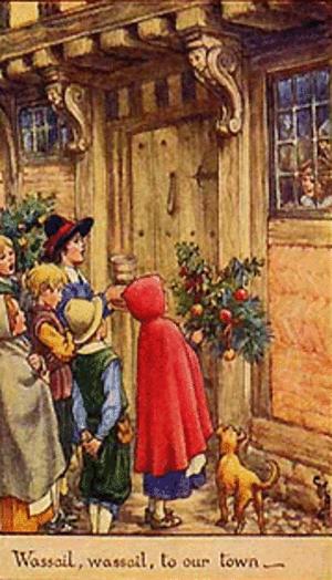 Wassailing at the door at Christmastide