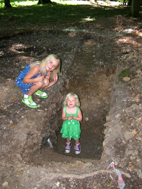 Young Archaeologists of the Year,  Isla and Liliana King in Romarno British Ditch, The Wildwood